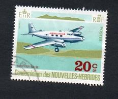 1972 Avion Nouvelles Hebrides 20c  Yvert Tellier No. 322 Timbre Usagee, Sans Charniere - Légende Française