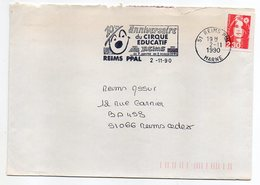 """1990--REIMS --flamme Temporaire """"10ème Anniv Du Cirque Educatif """" (clown)  Sur Lettre - Cachet REIMS Ppal -51 - Marcophilie (Lettres)"""