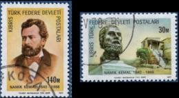Cyprus Turkish 1977 Namik Kemal 2 Values Cancelled Poet - Langues