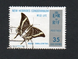 1976 Papillon New Hebrides 35c  Yvert Tellier No. 3863 Timbre Usagee, Sans Charniere - Légende Anglaise