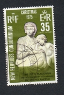 1975 Christmas New Hebrides 35c  Yvert Tellier No. 421 Timbre Usagee, Sans Charniere MADONNA / MICHELANGELO - Légende Anglaise
