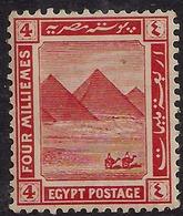 Egypt 1914  KGV 4 Mil Vermilion Pyramids  MM SG 76 ( K1456 ) - Egypt