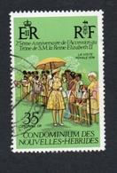 1977 QEII VISIT  New Hebrides 35c  Yvert Tellier No. 444 Timbre Usagee, Sans Charniere 25th Anniversaire - Légende Française