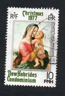 1977 CHRISTMAS  New Hebrides 10 FNH  Yvert Tellier No. 524 Timbre Usagee, Sans Charniere MADONNA & CHILD - Légende Anglaise