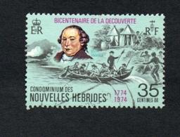 1974 DECOUVERTE  Nouvelles Hebrides 35c  Yvert Tellier No. 395 Timbre Usagee, Sans Charniere Par Monsieur WALES - Légende Française