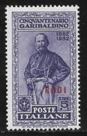 Italy Aegean Islands Rhodes Scott # 54 Mint Hinged Italy Garibaldi Stamp Overprinted, 1932 - Aegean (Rodi)