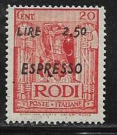 Italy Aegean Islands Rhodes Scott # E4 Mint Hinged Knight Surcharged,1943 - Ägäis (Rodi)