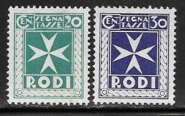 Italy Aegean Islands Rhodes Scott # J3-4 Unused No Gum Postage Due, 1934 - Aegean (Rodi)