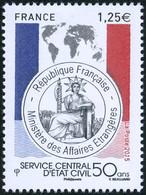 France Géographie N° 4959 ** Carte Du Monde - Service Central D'État Civil 50 Ans - Géographie