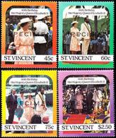 ST.VINCENT 1986 60th Birthday #2 SPECIMEN SET:4 - St.Vincent (1979-...)
