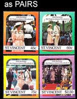 ST.VINCENT 1986 60th Birthday #2 SPECIMEN PAIRS:4 - St.Vincent (1979-...)