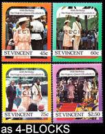 ST.VINCENT 1986 60th Birthday #2 SPECIMEN 4-BLOCKS:4 - St.Vincent (1979-...)