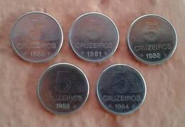 LSJP BRAZIL FIVE COINS 5 CRUZEIROS COFFEE 1980/1984 - Brésil