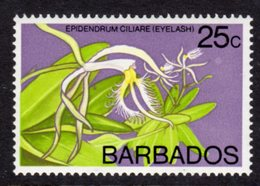 BARBADOS - 1976 25c ORCHID STAMP WMK W12 S/W FINE MNH ** SG 549 - Barbades (1966-...)