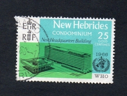 1966 Geneva WHO Building New Hebrides 25c  Yvert Tellier No. 247 Timbre Usagee, Sans Charniere - Légende Anglaise