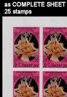ST.VINCENT 1987 Carnival Dance Rumba Mask 20c IMPERF.COMPLETE SHEET:25 Stamps - St.Vincent (1979-...)