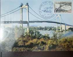 O) 1967 FRANCE, GREAT BRIDGE BORDEAUZ SC 1180-RIVER-LANDSCAPE, MAXIMUM CARD, XF - 1960-69