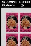BULK: 2 X ST.VINCENT 1987 Carnival Dance Rumba Mask 20c IMPERF.COMPLETE SHEET:25 Stamps - St.Vincent (1979-...)