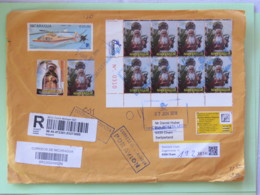Nicaragua 2018 Cover To Switzerland - Returned Not Claimed - Religious Processions - Helicopter - Flowers - Nicaragua