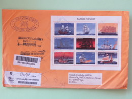 Nicaragua 2018 Cover To Russia - Returned Bad Adress - Full Sheet Ships - Birds Copernicus Butterfly - Nicaragua
