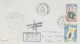 Enveloppe   T.A.A.F    Oblitération    MARTIN  DE  VIVIES   ST  PAUL   AMS    1976 - Terres Australes Et Antarctiques Françaises (TAAF)
