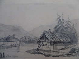 DESSIN AU CRAYON PAYSAGE MOULIN SIGNE BRETON 19 è - Drawings