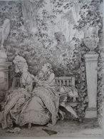 GRAVURE SCENE GALANTE SIGNE CHAMPOLLION 1880 D APRES MOREAU LE JEUNE 1778 - Engravings