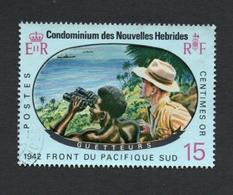 1967 World War II - 25th Anniversary Nouvelles Hebrides 15c  Yvert Tellier No. 257 Timbre Usagee, Sans Charniere - Légende Française