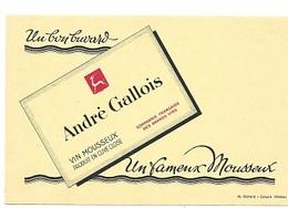 BUVARD  Marque  Boisson  Vin  Mousseux  ANDRE  GALLOIS  Produit  En  Cuve  Close - Buvards, Protège-cahiers Illustrés