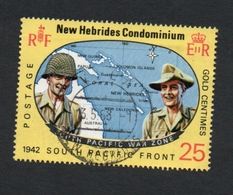 1967 World War II - 25th Anniversary New Hebrides 25c  Yvert Tellier No. 262 Timbre Usagee, Sans Charniere - Légende Anglaise