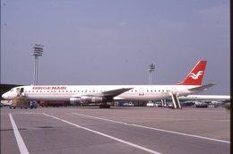 SLIDE / AVION / AIRCRAFT   KODAK  ORIGINAL     BIRGENAIR   DC 8  TF IUF - Diapositives