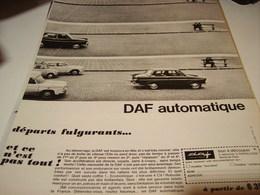 ANCIENNE PUBLICITE DEPART FULGURANT VOITURE DAF AUTOMATIQUE 1965 - Voitures