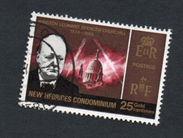 1966 CHURCHILL New Hebrides 25c  Yvert Tellier No. 233 Timbre Usagee, Sans Charniere - Légende Anglaise