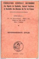 SNCF Calepin FGAAC 1965 Renseignements Utiles Règlementation - Chemin De Fer