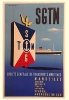 France Navigation Postcard SGTM Marseille Algérie Antilles Senegal Amerique Du Sud 1955 - Reproduction - Pubblicitari