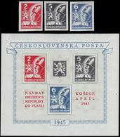 ** Czechoslovakia - 1945 - Mi. 408-10, Bl. 6 - Tchécoslovaquie