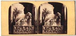 Stereo-Foto Unbekannter Fotograf, Ansicht Rome, Ariadne Or Cleopatra With Sarcophagus In The Vatican - Fotos Estereoscópicas