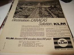 ANCIENNE PUBLICITE DESTINATION CARACAS SOLUTION  KLM 1965 - Publicité