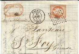 1854 -lettre De CALAIS ( Pas De Calais ) Cad T15 Affr. N°16 Oblit. P C 583 - 1849-1876: Periodo Clásico