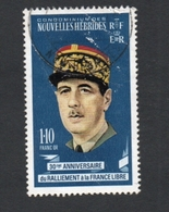 1971 FRANCE LIBRES New Hebrides FR1.10 Yvert Tellier No. 305 Timbre Usagee, Sans Charniere CHARLES DE GAULLE - Légende Française