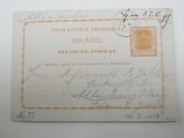 BRASIL , 1887 , BAHIA , Tajeta Postal  A Alemanhia - Brasil