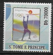 SAINT THOMAS ET PRINCE  N° 2651  * *    ( Cote 12.30e )  Jo 2008 Timbre Sur Timbre Basket - Basket-ball