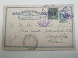 1923 , Costa Rica  Tajeta Postal  A Peru ! - Costa Rica