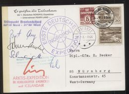 1. Deutsche Nordpol-Expedition, Gelaufen DANEBORG 15.8.1966 / GRÖNLANDS-POSTKONTOR 6.9.1966 - Arctic Expeditions