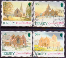 JERSEY 1988 SG #458-61 Compl.set Used Jersey Parish Churches (1st Series) - Jersey