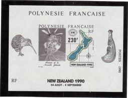 B13 - Bloc Feuillet BF17 ** MNH De 1990 - ( Faciale 1,95 € ) HOMME Et CARTE De La NOUVELLE ZELANDE. - Polynésie Française