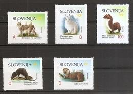 SLOVENIA,,SLOWENIEN 2018,FAUNA,ANIMALS DEFINITIVE STAMPS,LYNX,LEPUS,MUSTELA,NEOMUS,LUTRA,ENDANGERED ANIMALS SPECIES,,MNH - Slovénie