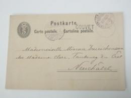 1883 , COUVET ,   Bahnstempel Auf Ganzsache - 1882-1906 Armarios, Helvetia De Pie & UPU