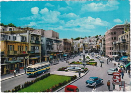 Amman: MERCEDES 180, USA CARS, AUTOBUS/COACH, TRUCK, 'Hoechst Pharmacy' Neon, 'Naser' Hotel', King Faisal Square,Jordan - Toerisme
