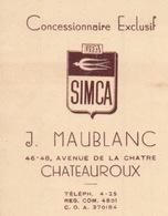 1949 - FACTURE CONCESSIONNAIRE AUTOMOBILE  EXCLUSIF SIMCA - MAUBLANC A CHATEAUROUX - RÉPARATION POSE GALERIE  KLAXON - Cars